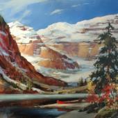 heighton-brent-red-canoe-at-lake-louise